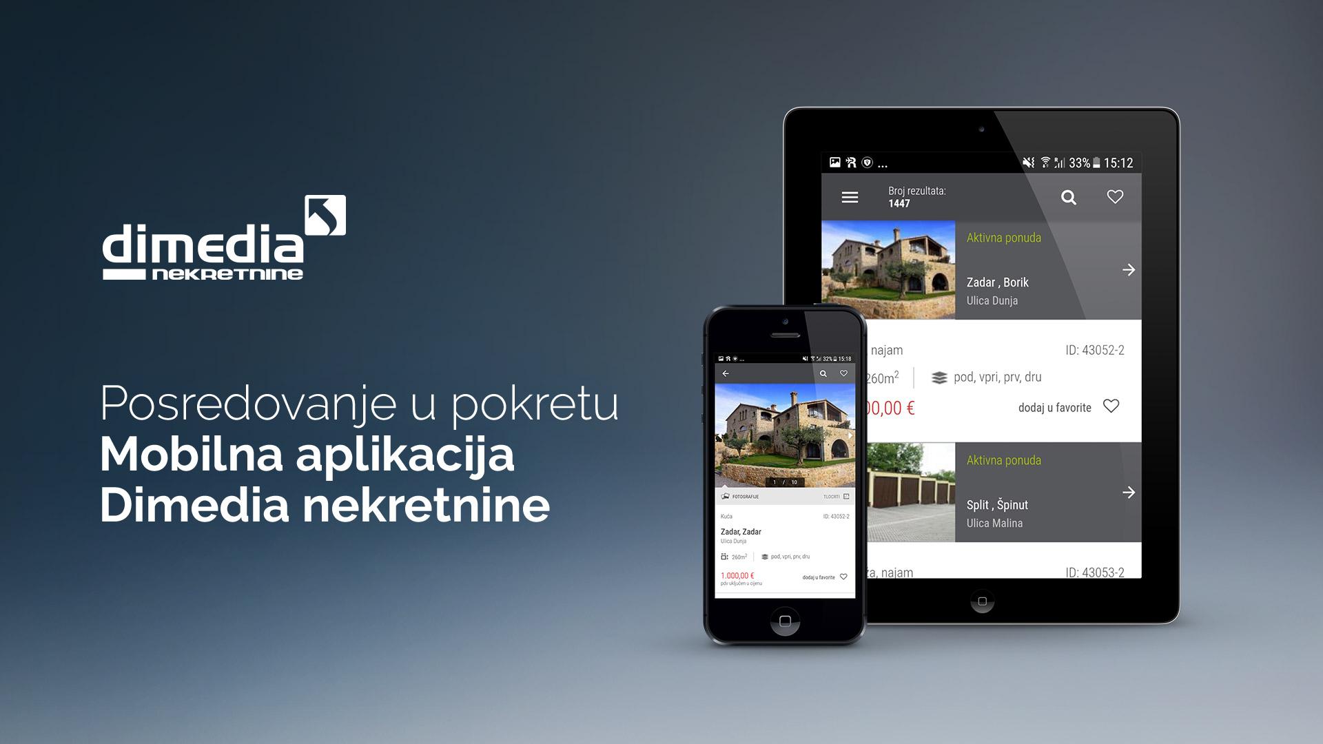 Moblina aplikacija Dimedia nekretnine